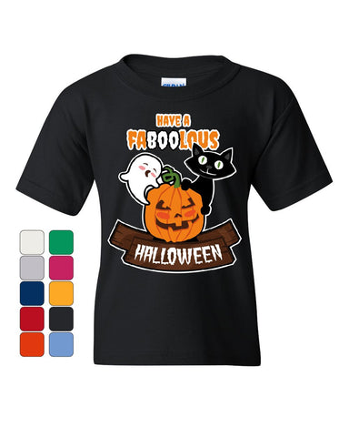 Have FaBOOlous Halloween Youth T-Shirt Funny Ghost Pumpkin Black Cat Kids Tee