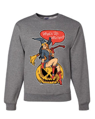 What's Up Witches Sweatshirt Halloween Sexy Witch Jack-o-Lantern Sweater
