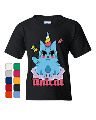 Unicat Youth T-Shirt Cute Adorable Unicorn Cat Lady Kitten Fairy Tale Kids Tee