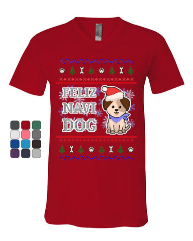Feliz Navi Dog Ugly Sweater V-Neck T-Shirt Christmas Xmas Pet Paws Pup Tee