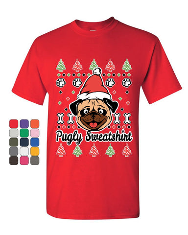 Pugly Sweatshirt T-Shirt Pug Ugly Sweater Jolly Christmas Xmas Mens Tee Shirt