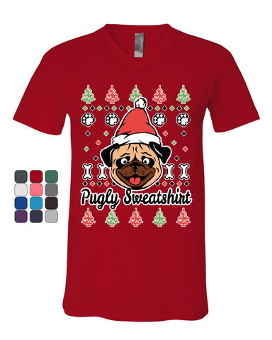 Pugly Sweatshirt V-Neck T-Shirt Pug Ugly Sweater Jolly Christmas Xmas Tee
