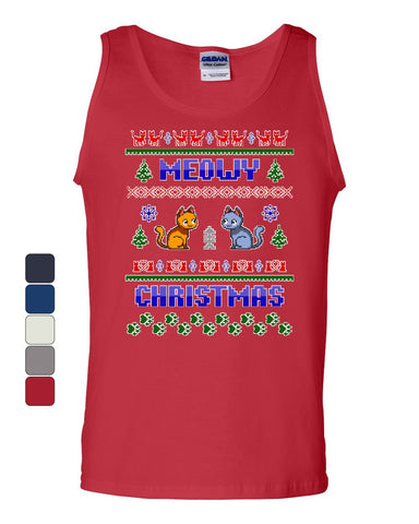 Meowy Christmas Ugly Sweater Tank Top Cat Kitten Purr Merry Xmas Sleeveless