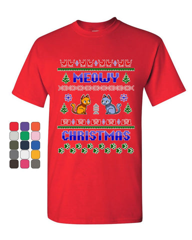 Meowy Christmas Ugly Sweater T-Shirt Cat Kitten Purr Merry Xmas Mens Tee Shirt
