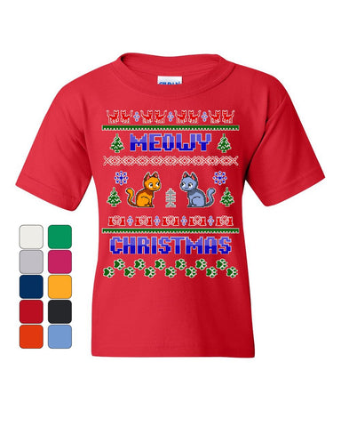 Meowy Christmas Ugly Sweater Youth T-Shirt Cat Kitten Purr Merry Xmas Kids Tee