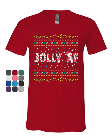 Jolly AF V-Neck T-Shirt Funny Christmas Eve Holiday Spirit Xmas Santa Tee