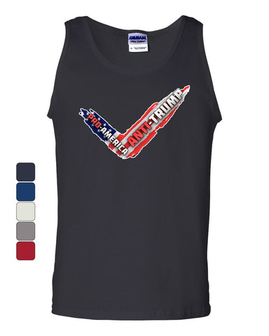Pro-America Anti-Trump American Flag Tank Top Dump Trump Sucks Sleeveless