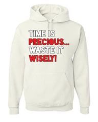 Time is Precious Waste it Wisely Hoodie College Humor Lazy Fun Sweatshirt
