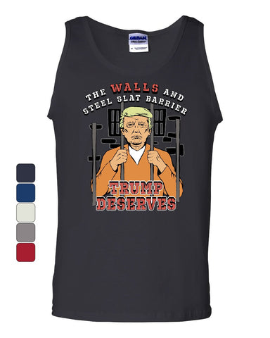 Trump for Prison Tank Top Lock him Up Jail Jumpsuit Trump Sucks Sleeveless