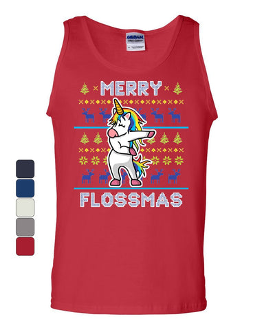Merry Flossmas Flossing Unicorn Tank Top Christmas Ugly Sweater Sleeveless