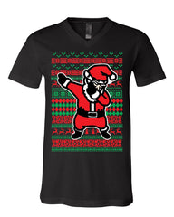 Santa Dab Dancing Ugly Sweater V-Neck T-Shirt Christmas Xmas Ho Ho Ho Tee
