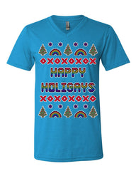 Happy Holigays V-Neck T-Shirt Gay Merry Christmas Ho Ho Ho LGBT Xmas Tee