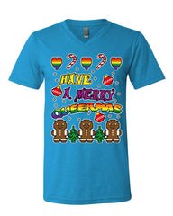 Have a Merry Queermas V-Neck T-Shirt Ugly Sweater Christmas LGBT Xmas Tee