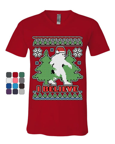 Bigfoot Ugly Sweatshirt V-Neck T-Shirt Funny Christmas Yeti I Believe Tee