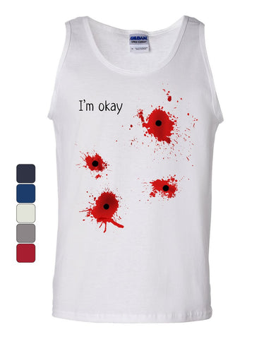 I'm Okay Halloween Tank Top Funny Bullet Hole Blood Stained Sleeveless