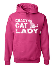 Crazy Cat Lady Hoodie Funny Pet College Humor Hipster Cat Kitten Sweatshirt - Tee Hunt - 8