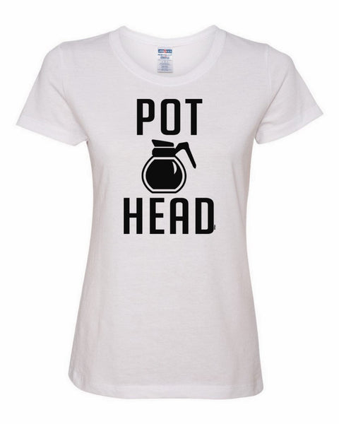 Pot Head Women's T-Shirt Funny Coffee Tee Shirt - Tee Hunt - 1
