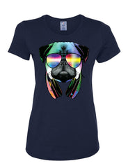 Funny Pug DJ In Sunglasses And Headphones Women's T-Shirt Neon Multicolor Music Tee Shirt - Tee Hunt - 5