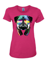 Funny Pug DJ In Sunglasses And Headphones Women's T-Shirt Neon Multicolor Music Tee Shirt - Tee Hunt - 6