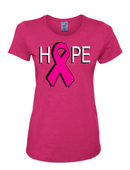 Hope Breast Cancer Awareness Women's T-Shirt Pink Ribbon Survivor Cure Fight Cancer Tee Shirt - Tee Hunt - 6