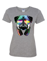 Funny Pug DJ In Sunglasses And Headphones Women's T-Shirt Neon Multicolor Music Tee Shirt - Tee Hunt - 7