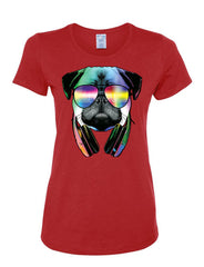 Funny Pug DJ In Sunglasses And Headphones Women's T-Shirt Neon Multicolor Music Tee Shirt - Tee Hunt - 3