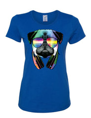 Funny Pug DJ In Sunglasses And Headphones Women's T-Shirt Neon Multicolor Music Tee Shirt - Tee Hunt - 4