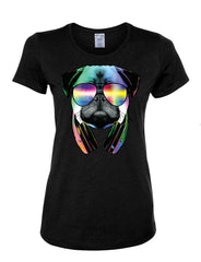 Funny Pug DJ In Sunglasses And Headphones Women's T-Shirt Neon Multicolor Music Tee Shirt - Tee Hunt - 2