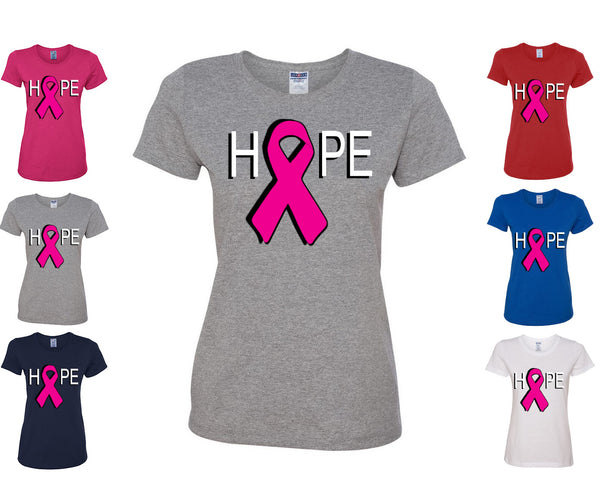Hope Breast Cancer Awareness Women's T-Shirt Pink Ribbon Survivor Cure Fight Cancer Tee Shirt - Tee Hunt - 1