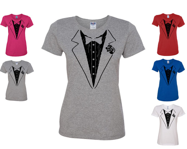 Funny Tuxedo Women's T-Shirt Groom Wedding Bachelor Party Drinking Tee Shirt - Tee Hunt - 1