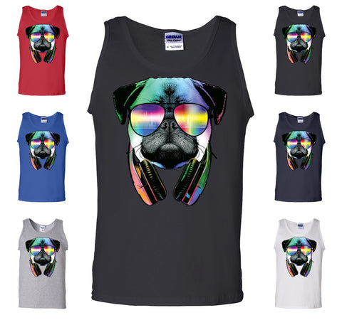 Funny Pug DJ In Sunglasses And Headphones Tank Top Neon Multicolor Music Muscle Shirt - Tee Hunt - 1