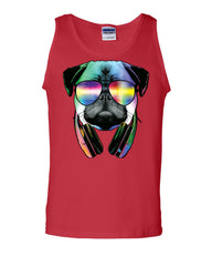 Funny Pug DJ In Sunglasses And Headphones Tank Top Neon Multicolor Music Muscle Shirt - Tee Hunt - 5