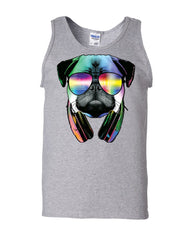 Funny Pug DJ In Sunglasses And Headphones Tank Top Neon Multicolor Music Muscle Shirt - Tee Hunt - 4