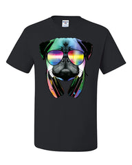Funny Pug DJ In Sunglasses And Headphones T-Shirt Neon Multicolor Music Tee Shirt - Tee Hunt - 2
