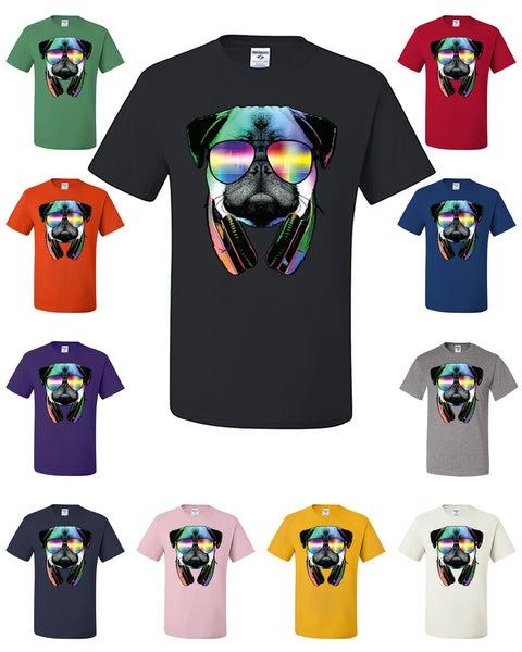Funny Pug DJ In Sunglasses And Headphones T-Shirt Neon Multicolor Music Tee Shirt - Tee Hunt - 1