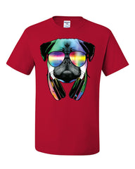 Funny Pug DJ In Sunglasses And Headphones T-Shirt Neon Multicolor Music Tee Shirt - Tee Hunt - 5