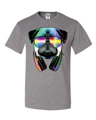 Funny Pug DJ In Sunglasses And Headphones T-Shirt Neon Multicolor Music Tee Shirt - Tee Hunt - 11