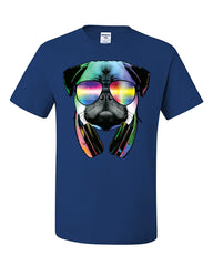 Funny Pug DJ In Sunglasses And Headphones T-Shirt Neon Multicolor Music Tee Shirt - Tee Hunt - 6