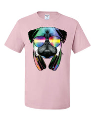 Funny Pug DJ In Sunglasses And Headphones T-Shirt Neon Multicolor Music Tee Shirt - Tee Hunt - 10