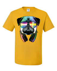 Funny Pug DJ In Sunglasses And Headphones T-Shirt Neon Multicolor Music Tee Shirt - Tee Hunt - 4