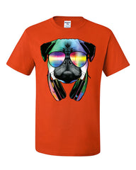 Funny Pug DJ In Sunglasses And Headphones T-Shirt Neon Multicolor Music Tee Shirt - Tee Hunt - 3