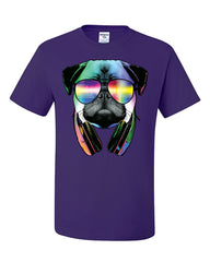 Funny Pug DJ In Sunglasses And Headphones T-Shirt Neon Multicolor Music Tee Shirt - Tee Hunt - 9