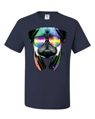 Funny Pug DJ In Sunglasses And Headphones T-Shirt Neon Multicolor Music Tee Shirt - Tee Hunt - 7