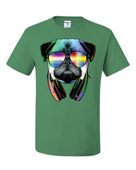Funny Pug DJ In Sunglasses And Headphones T-Shirt Neon Multicolor Music Tee Shirt - Tee Hunt - 8