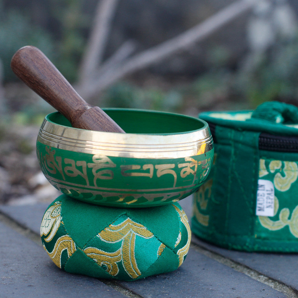 Load image into Gallery viewer, Mini Singing Bowl Gift Set - Green