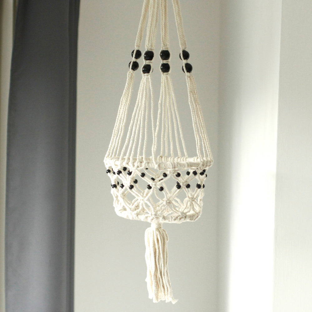 Load image into Gallery viewer, Macramé Pot Holder - Large Single Beaded