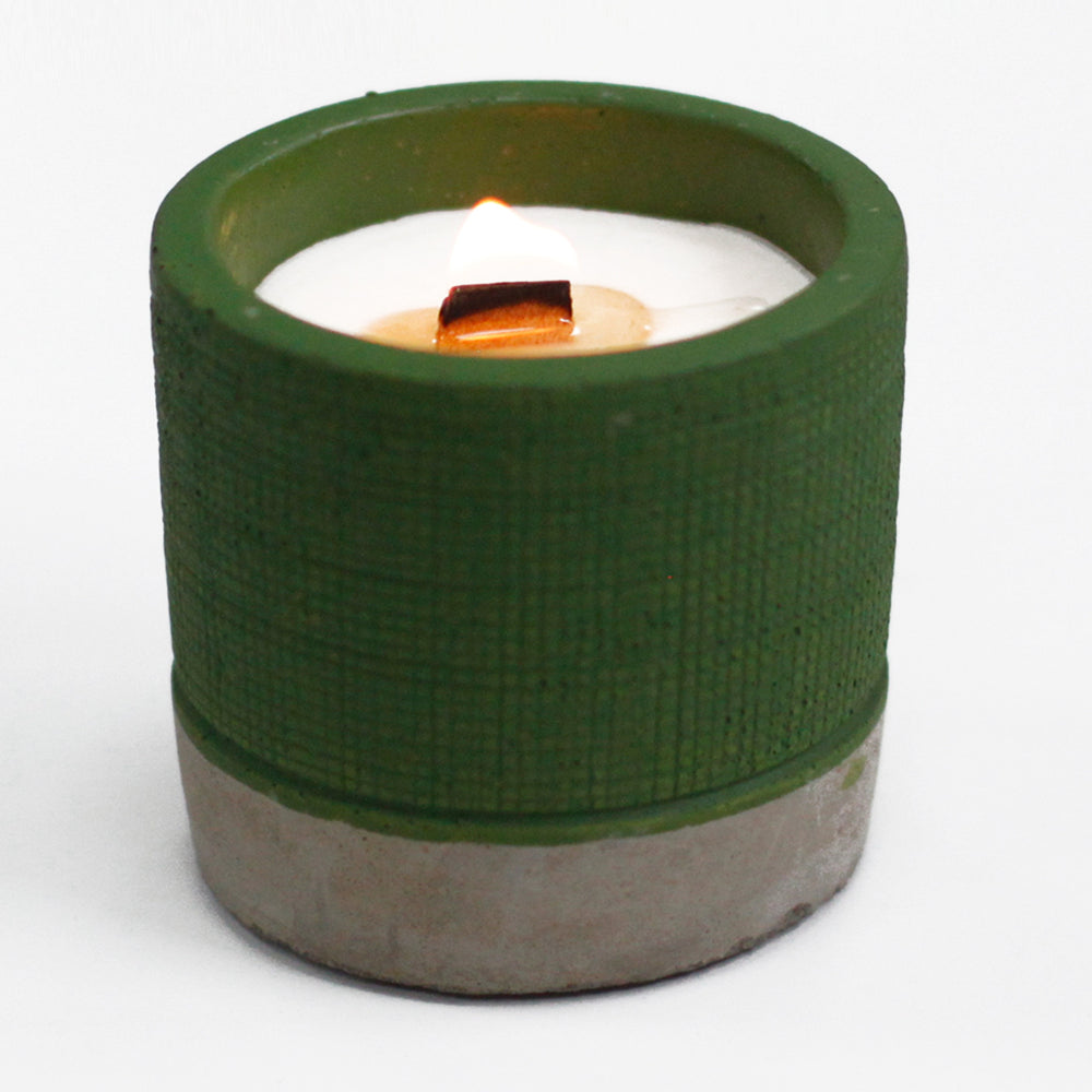 Concrete Candle Pot: Green - Sea Moss & Herbs