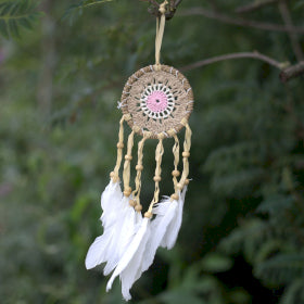 Pastel Pink Macramé Dream Catcher - 9cm