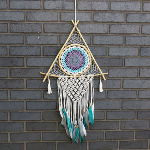 Protection Dream Catcher - Large Macrame Pyramid White/Turquoise