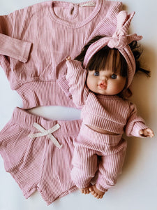 Toddler Dolly and Me Lounge Short Set in Nude Pink